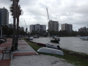 Several Sailboats beached in down town Sarasota
